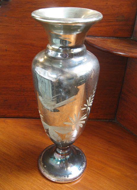 19th C Mercury Glass Silver Vase Tall Nobili Antiques Ruby Lane