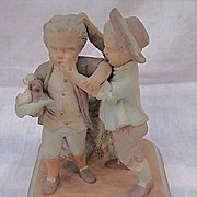 19thc English Terracotta Smoking Stand Two Boys w Puppies