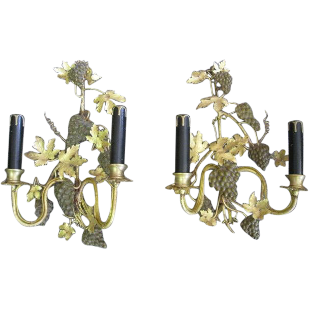 Pair Gilt Tole Sconces with Grape Clusters