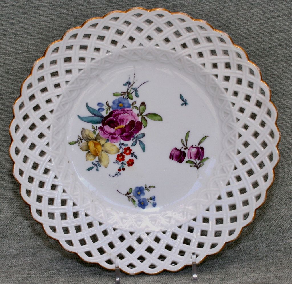 Antique Meissen Porcelain Plate with Flowers and Reticulated Edge
