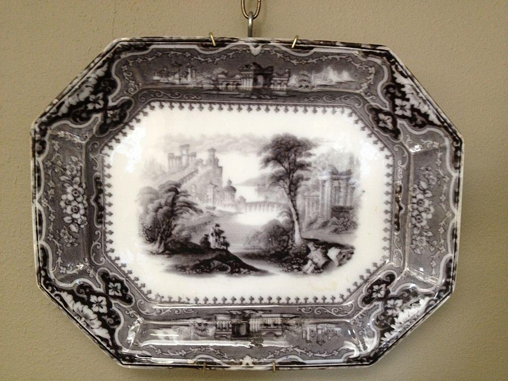 "Large 19th century English Mulberry Transfer Ware Platter ""Vincennes"""