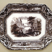 "Large 19th century English Mulberry Transfer Ware Platter ""Vincennes""2"