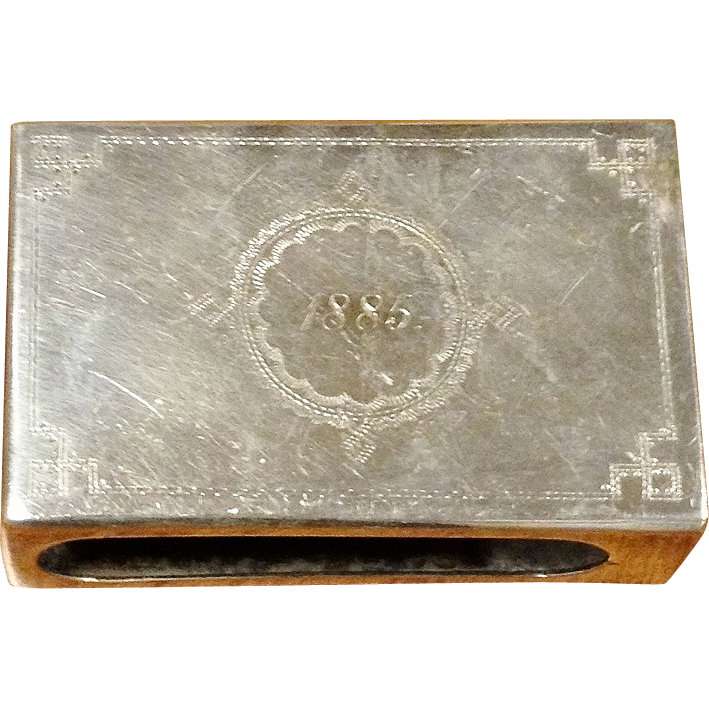 19th Century Silver Plate Match Box Holder Hand Engraved,1885