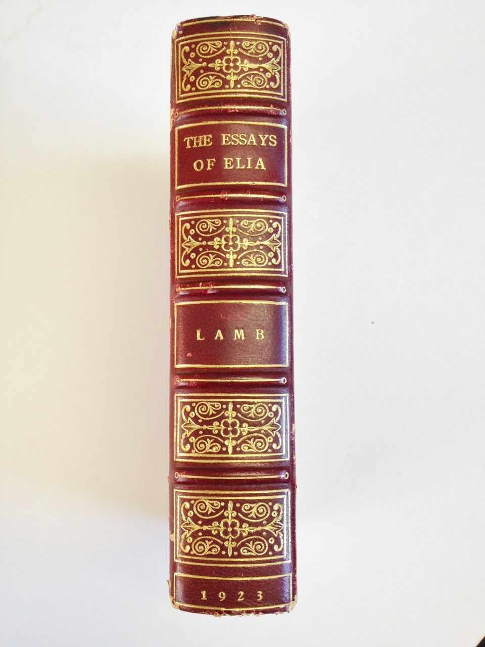 "Red Leather Bound Book with Gold Tooling ""The Essays of Elia""1923"