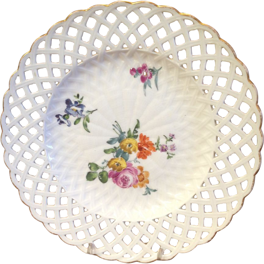 Antique Meissen Hand Painted Porcelain Plate with Flowers and Reticulated Edge