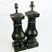 Pair Chinese Glazed Terracotta Baluster Lamps Vintage
