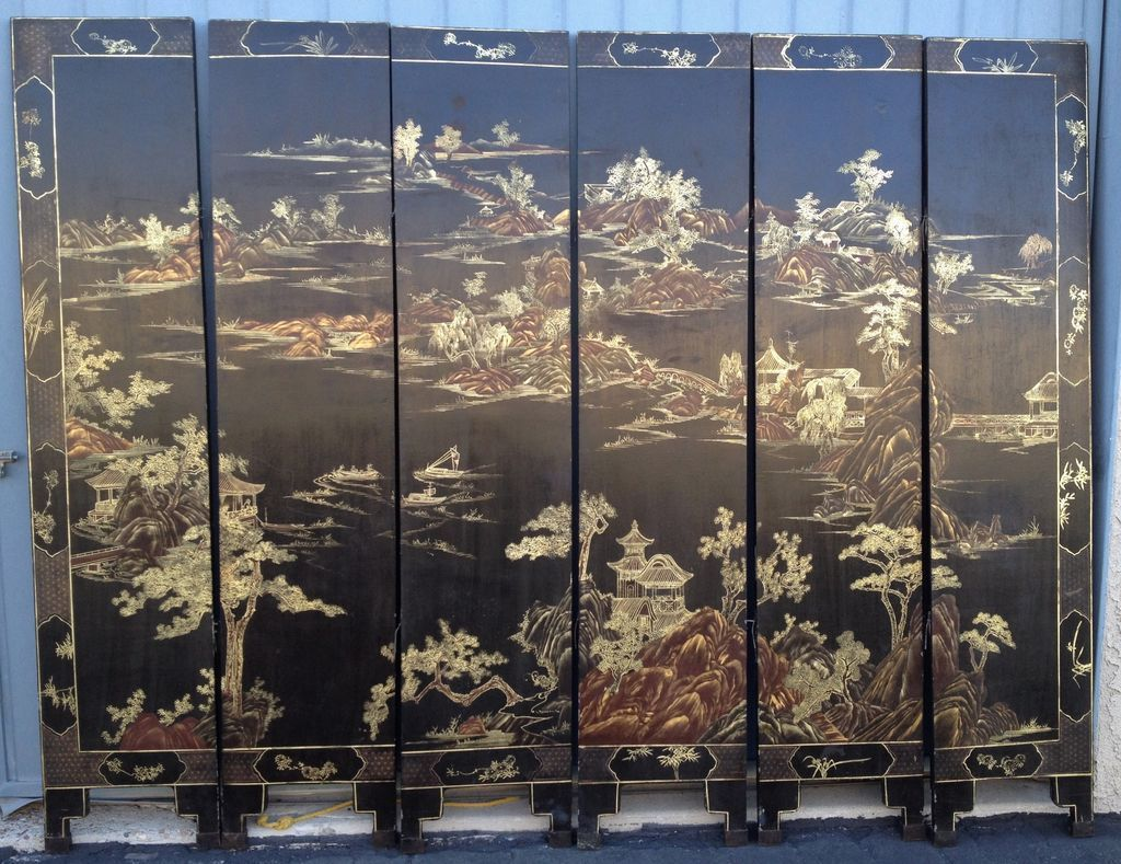 6 Panel Chinoiserie Black & Gold Screen Vintage