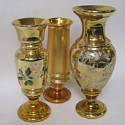 ! Collection of 3 Rare 19th C. Tall Gold Mercury Glass Vases