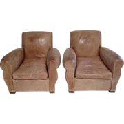 Handsome Pair French Art Deco Club Chairs in Rare Palomino Color