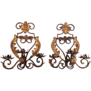 Pair Antique French Iron Gilt Tole 3 Arm Sconces