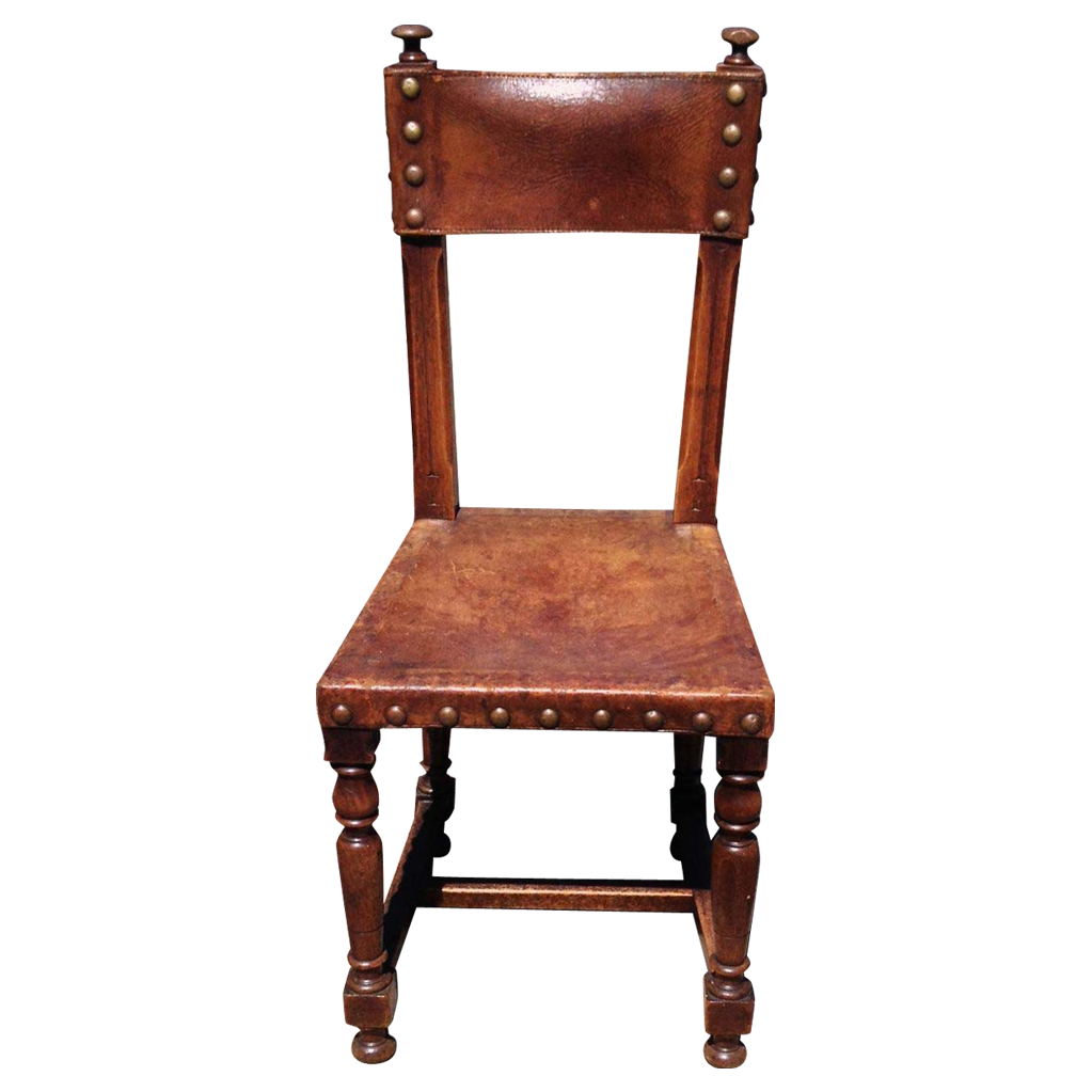 Decorative Nail Heads Antique Spanish Leather Hall Chair With Decorative Nail Heads From