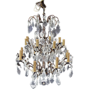 Large Fabulous French Bronze & Crystal Chandelier