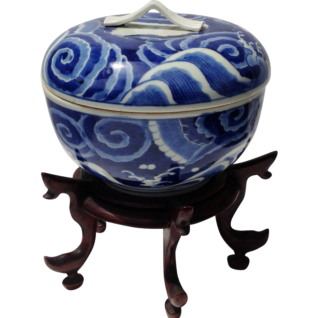 Asian Blue and White Porcelain Covered Bowl Vintage