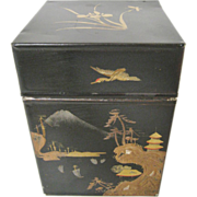 Chinoiserie Tole Tea Caddy Box '50's with MOP Inlay