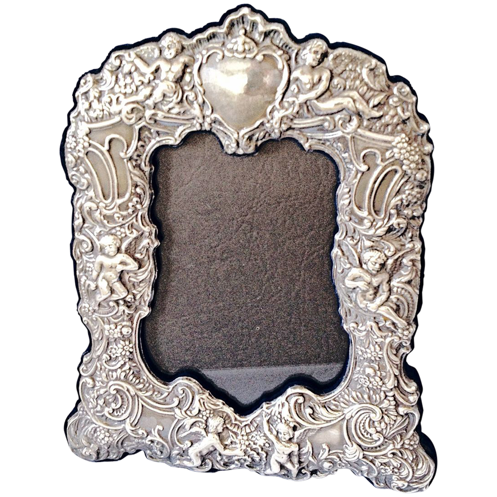 Silver Picture Frame Repousee with Cherubs Vintage
