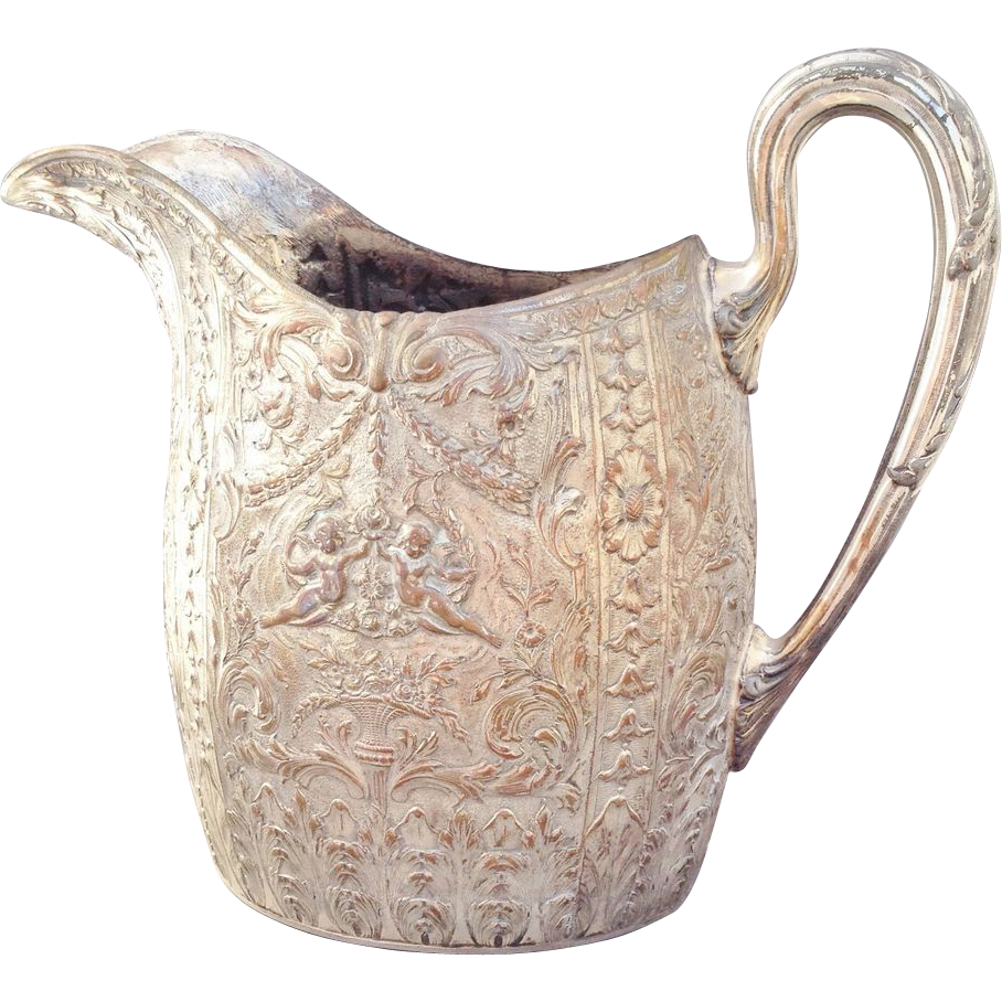 "Silverplate Pitcher E.G.Webster 10"" Repousse with Cherubs"