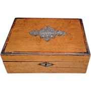 19thc Decorative Walnut Box w Repousee Cartouche