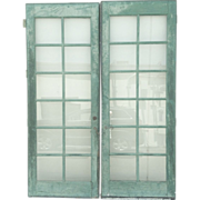 Pair Painted French Doors 12-Pane Glass Doors Vintage