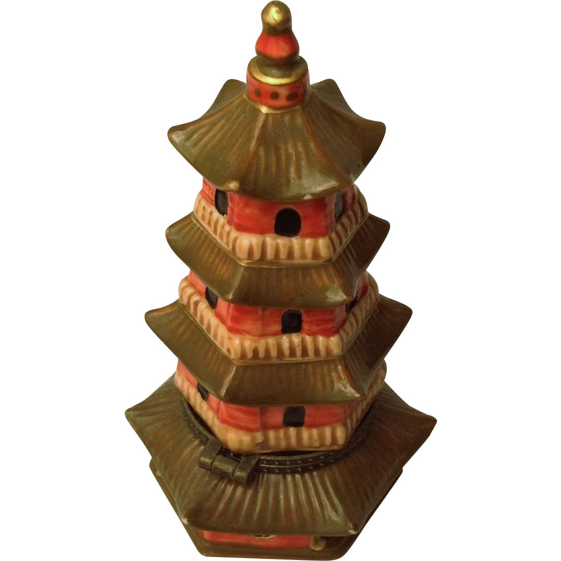 Porcelain hinged Pagoda Box Vintage