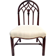 Gothic Carved Mahogany Chair w upholstered Linen Seat ca.1910 Desk chair