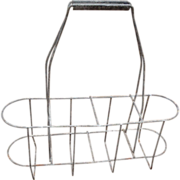 Vintage French Metal Wine Bottle Carrier Caddy