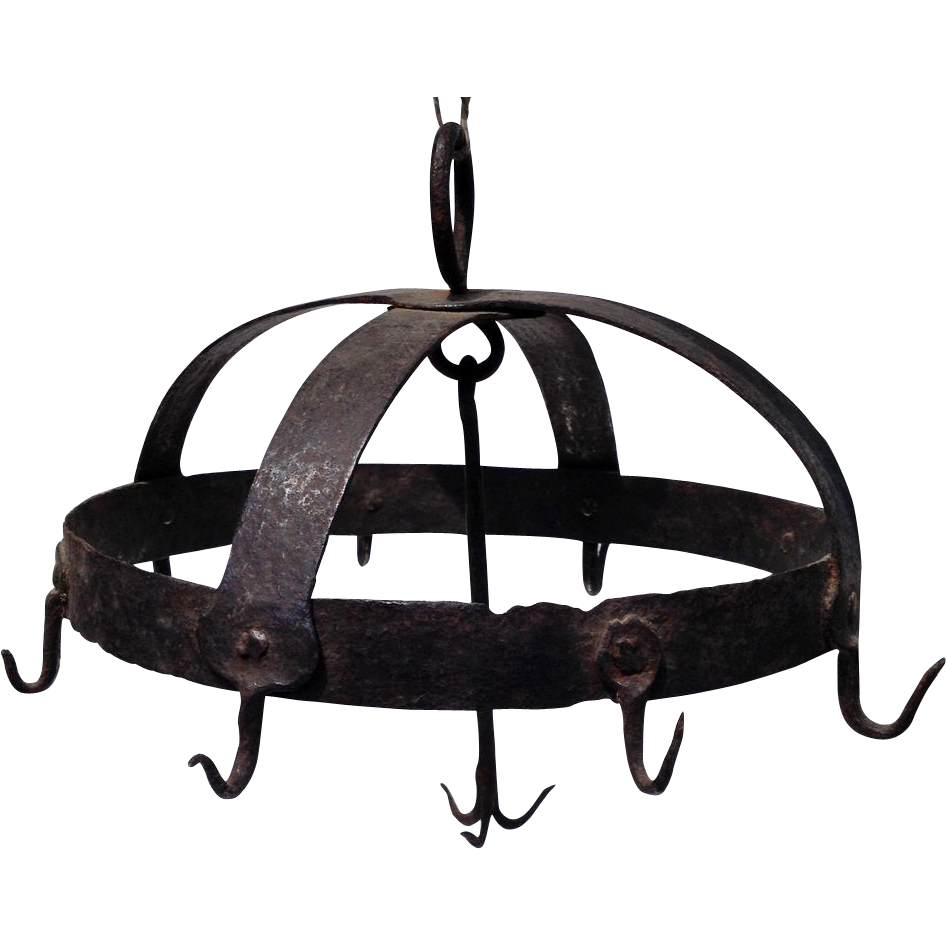 18thc wrought iron hook pot rack from rubylane sold on ruby