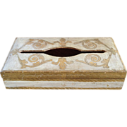 Gilt Wood Florentine Tissue Box Italy Vintage