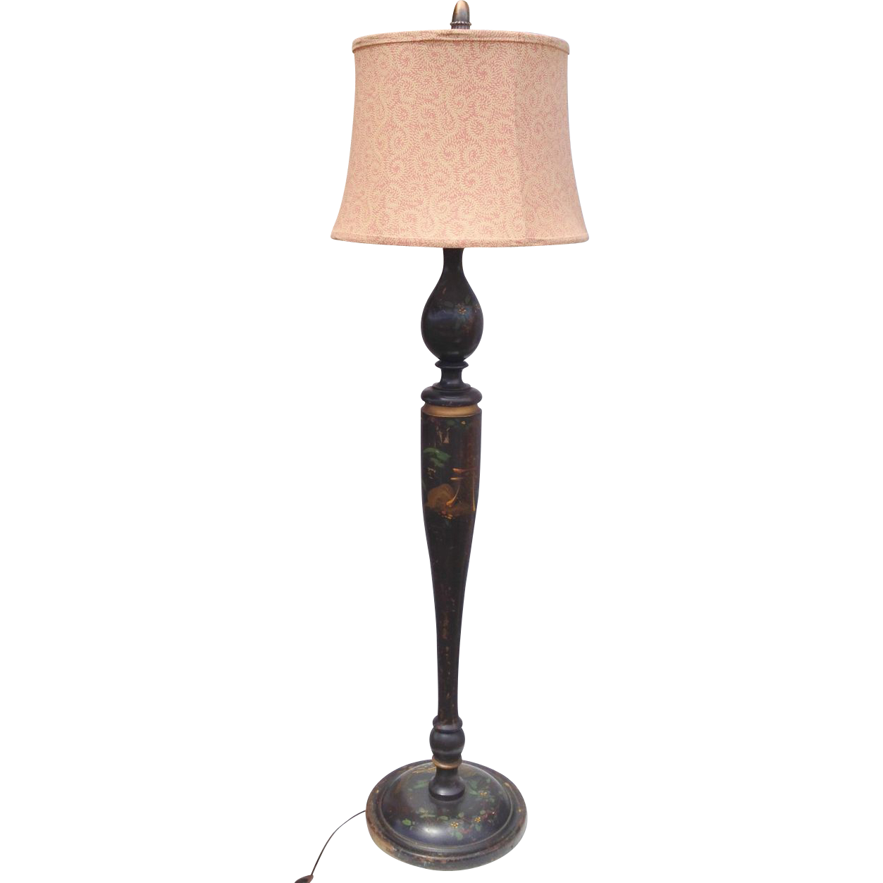 Unusual Black Lacquered Chinoiserie Floor Lamp