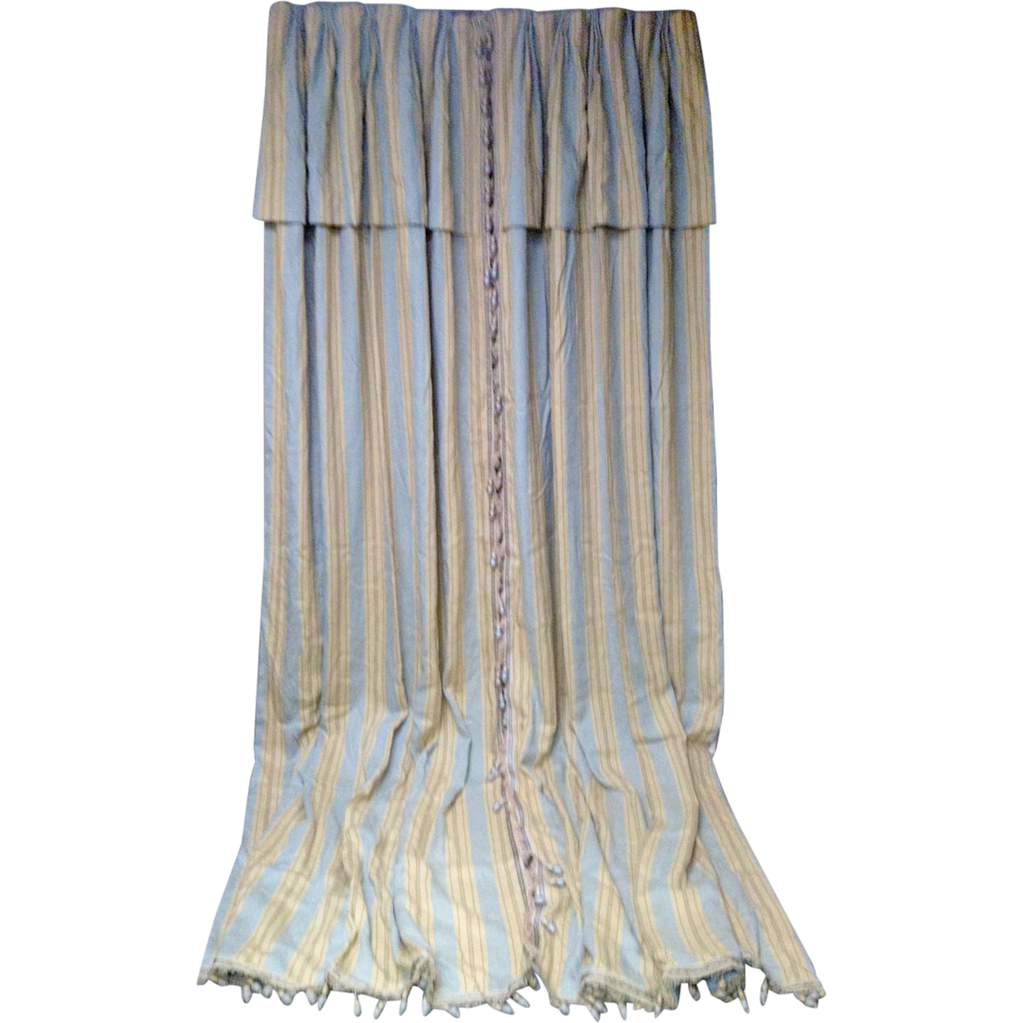 Impressive Pair of Designer Draperies with Valance Blue and Taupe