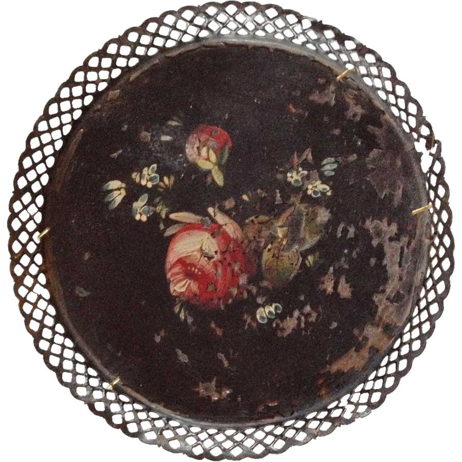 19th C Hand-Painted Tole Tray Black w Open Lattice Edge