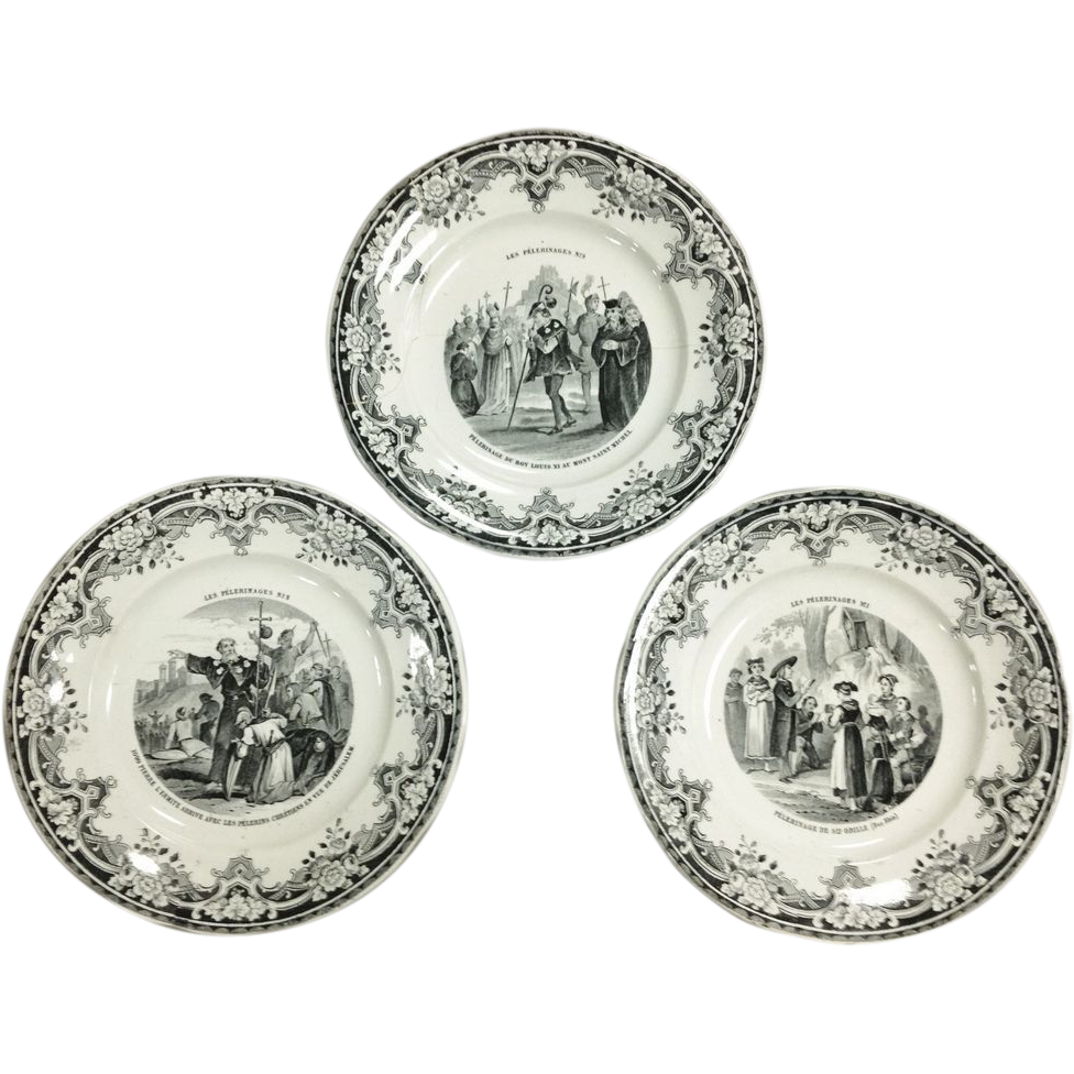 Set of 3 19thc French Black White Transfer Ware Plates by Creil and Montereau