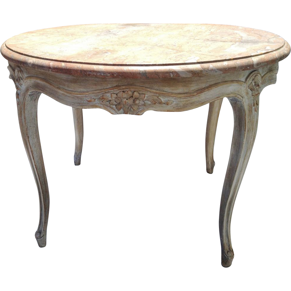 Vintage Round French Carved Coffee Table Cocktail Table w Marble Top LXV Style