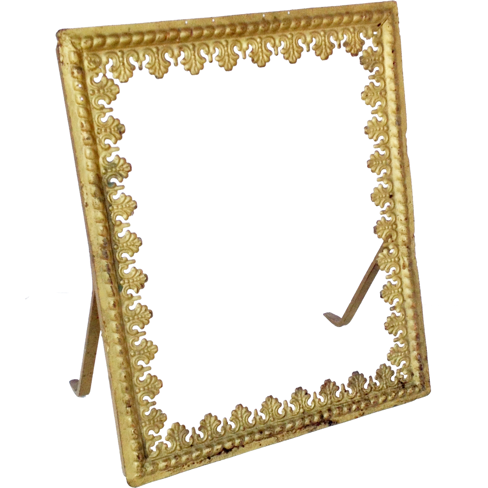 Gold metal frame mirror frame picture frame vintage with for Metal frame mirror