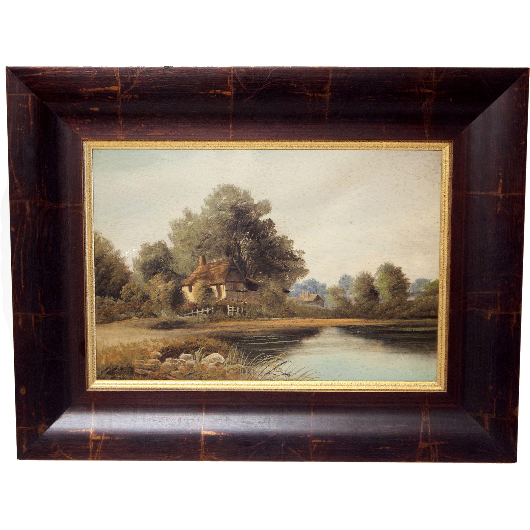 English Landscape Painting Cottage by Lake Oil on Board Vintage