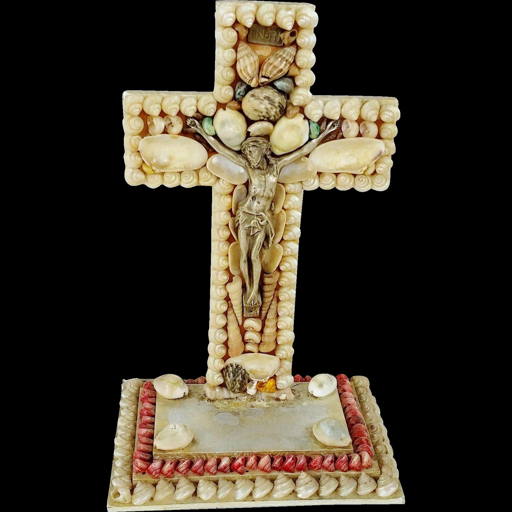 Grotto Art Seashell Cross Crucifix INRI Fine Quality Vintage