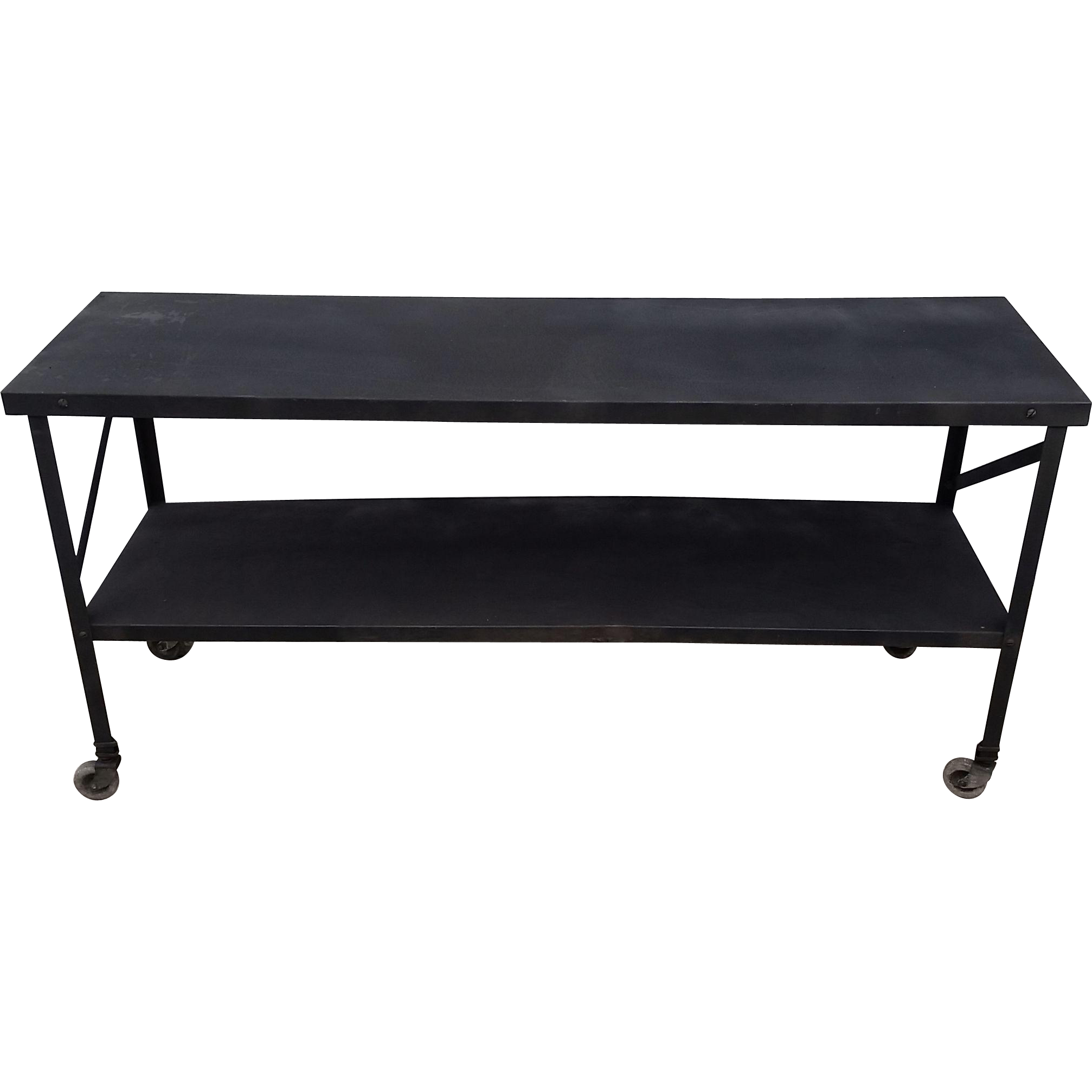 Mid-Century Industrial Metal Trolley Console Table w Shelf on Casters