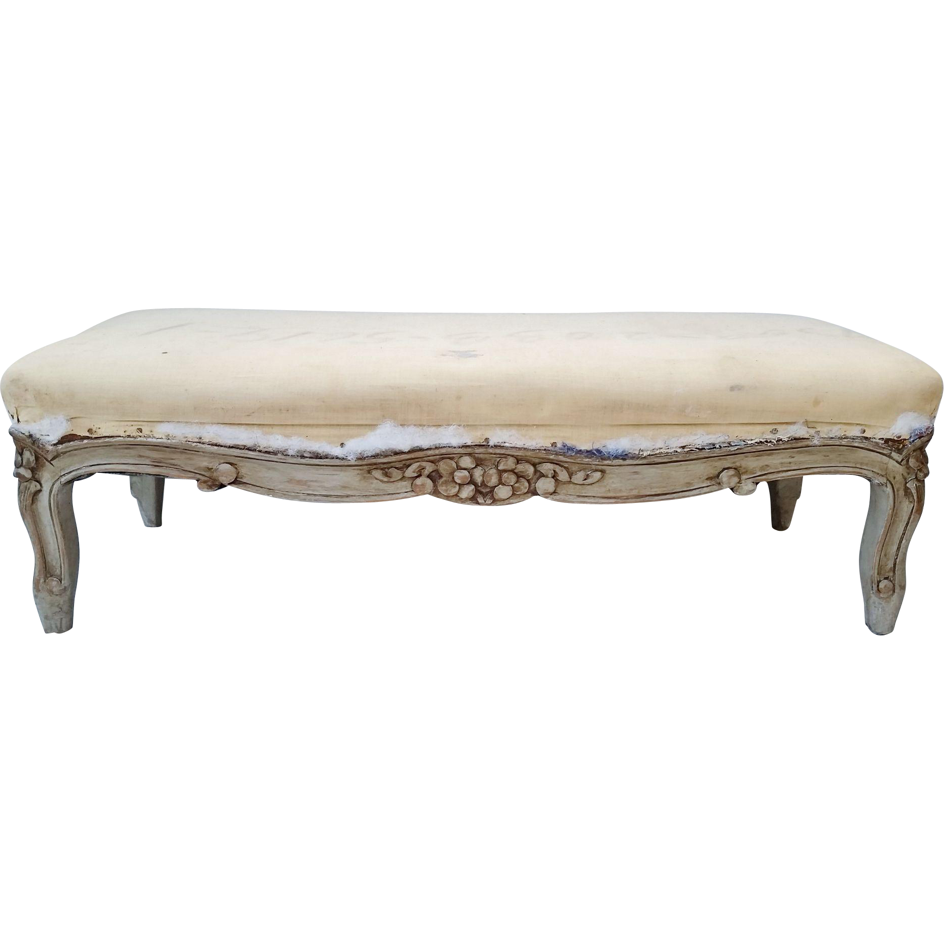 French Carved Louis Xv Long Footstool Prayer Bench Painted French Gray From Nobiliantiques On