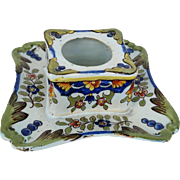 19th C Faience Signed Inkwell  E Fourmaintraux