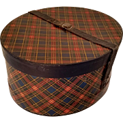 Tartan Hat Box Oval Early 1900's