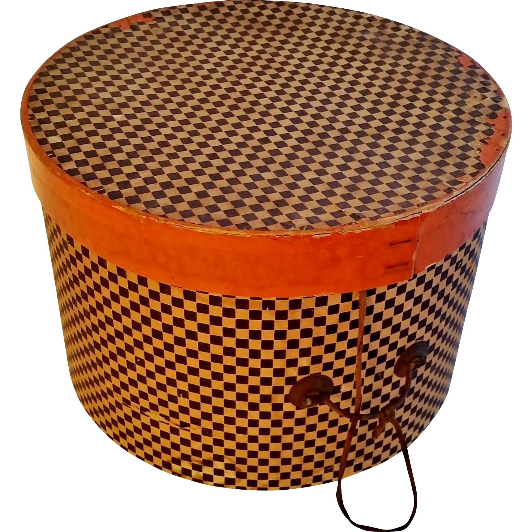 Round Checkered Hat Box ca1900