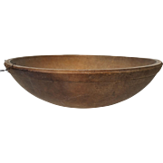 Antique Turned Wood Bowl,Primitive Treen Ware-15 inch