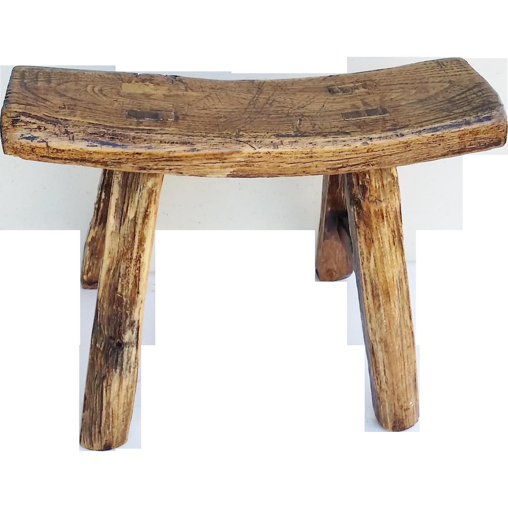 Vintage Chinese Elm Stool Milking Bench