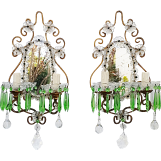 Italian Crystal Wall Sconces w Emerald Green Prisms Vintage 1930's
