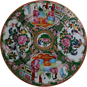 Chinese Rose Medallion Porcelain Plate Famille Rose Antique