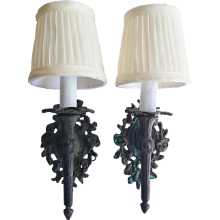 Pair French Neo-Classic Bronze Sconces w Silk Shades
