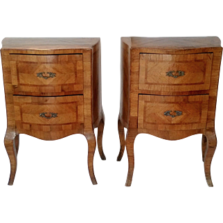 Pair Italian Walnut and Fruitwood Commodes