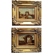 Pair Italian Oil Paintings w Gilt Wood Frames Vintage