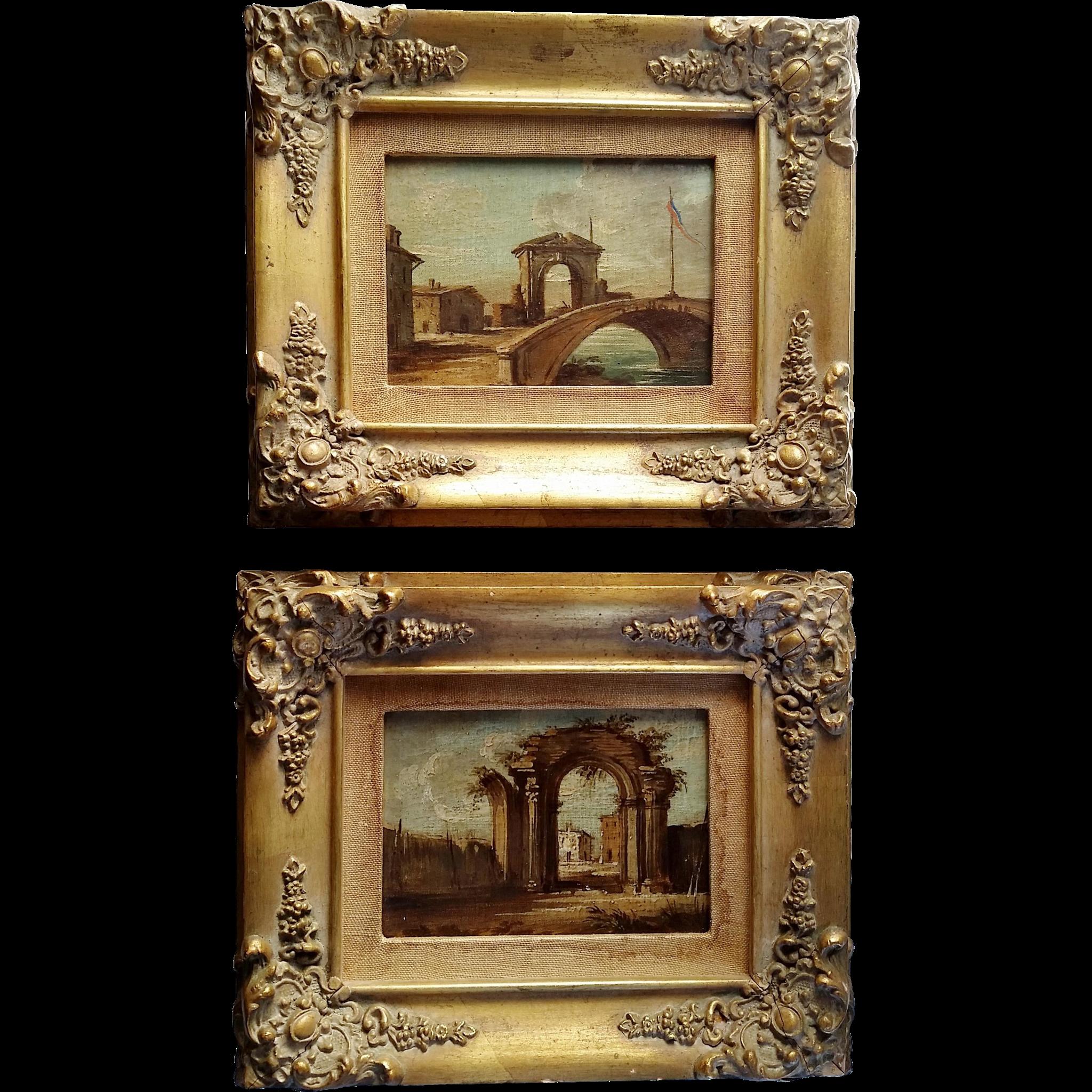 Pair Italian Oil Paintings w Gilt Wood Frames Vintage