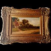 Landscape Painting Oil on Board Gilt Frame Vintage