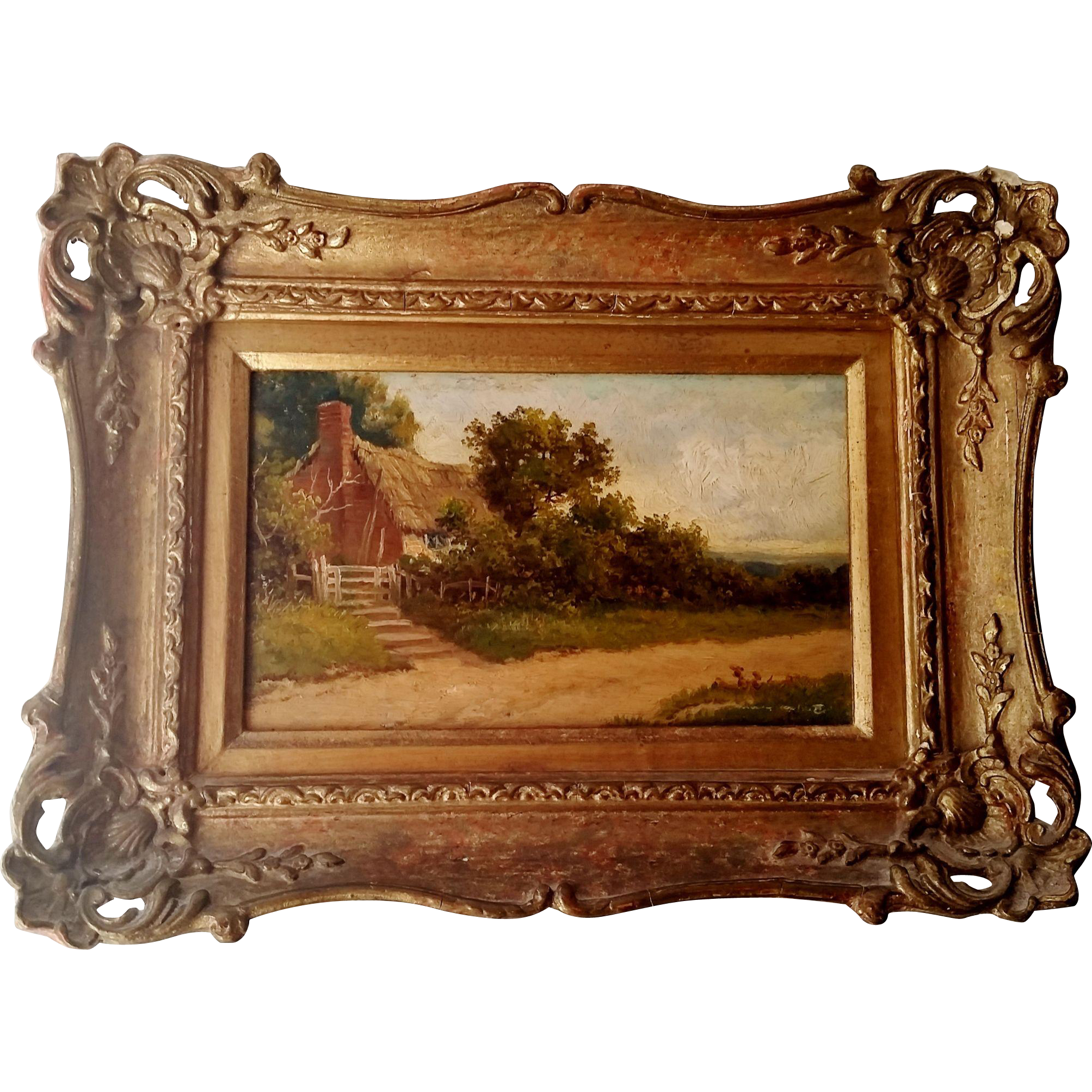 Landscape Painting Oil on Board Gilt Frame Vintage